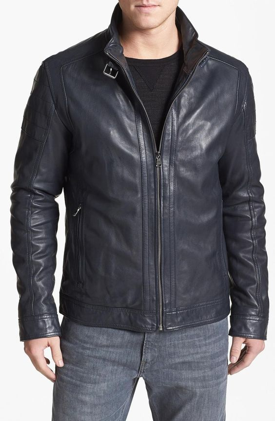 Mens black biker leather jacket, Men leather jacket,
