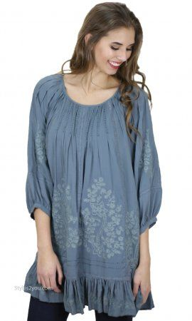 Chana Embroidered Tunic Dress With Ruffles In Teal