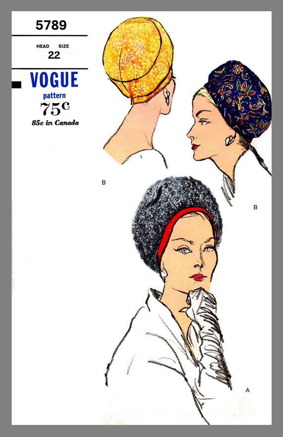 Hat Pattern Vintage Vogue Millinery Hat Cloche Material Fabric sew pattern #5789 Reprint Copy