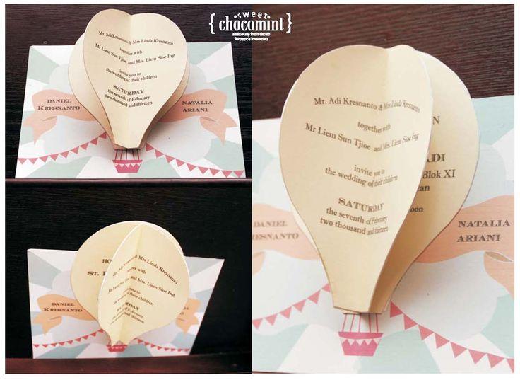 pop up hot baloon wedding invitation