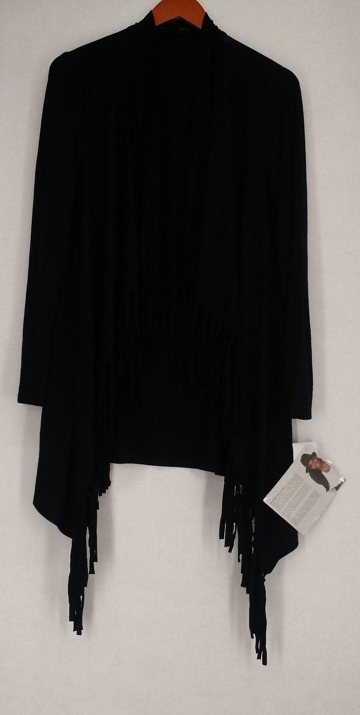 Serena Williams Sweater M Lightweight Fringe Trim Long Sleeve Cardigan Black New