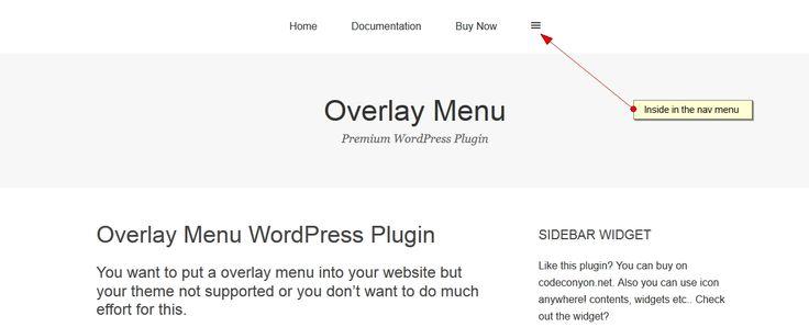 Introducing – Overlay Menu WordPress Plugin  You can create overlay menu to main navigation or outside of the navigation with this Overlay Menu WordPress Plugin into any website. Plugin have felxib...