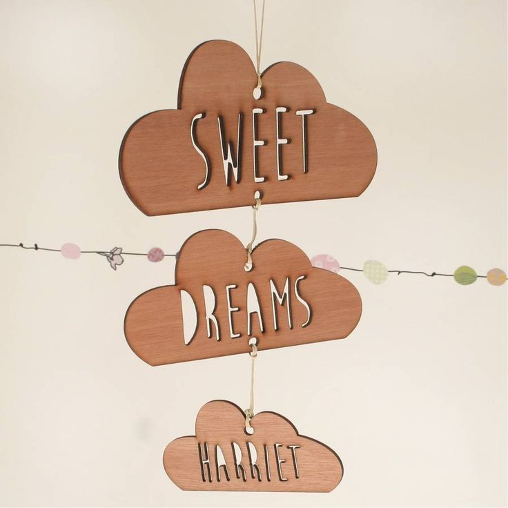 personalised sweet dreams wooden cloud mobile by scamp | notonthehighstreet.com