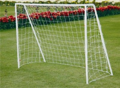 "Soccer Goal Post Steel - Super: Soccer goal post made of 1.5"" Steel tube, powder coated for durability. Easy to assemble and carry. It comes in two variants. One with Spikes at bottom, Two with bottom frame base."