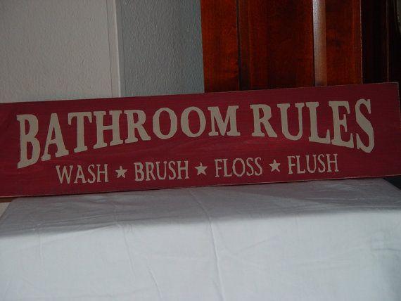 Primitive Wood Signs | primitive sign bathroom rules wash brush floss flush solid wood sign ...