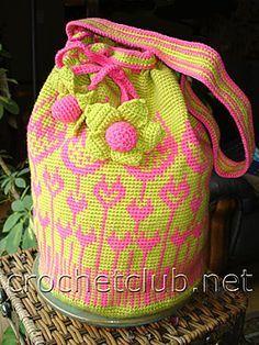 Crochet handbag TULIP - jacquard сумка тюльпан
