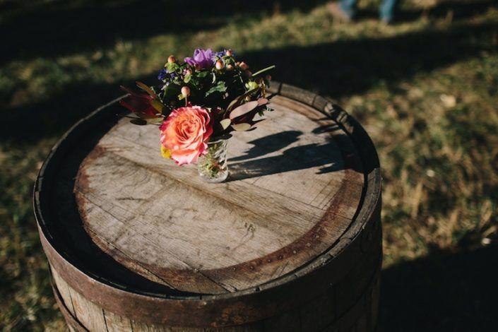 Our rustic whiskey barrels make great cocktail tables for your happy hour or reception! #rustic #coloradowedding #rusticwedding #weddingideas #weddinginspiration  #whiskeybarrel