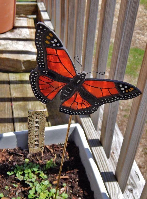 Stained Glass Orange Monarch Butterfly By RedfordGlassStudio, $26.50.  Mexico ArtMonarch ButterflyGarden ...