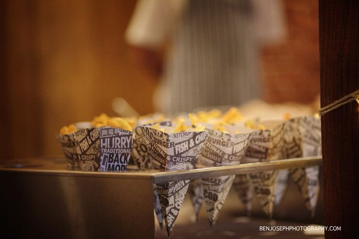 Want your guests to stay dancing? Have our evening 'Old school chip cones' alongside a choice of Sausages, Scampi, Chicken Goujons or Bacon Butties Kent Wedding Venue - www.theferryhouseinn.co.uk Copyright - www.benjosephphotography.com