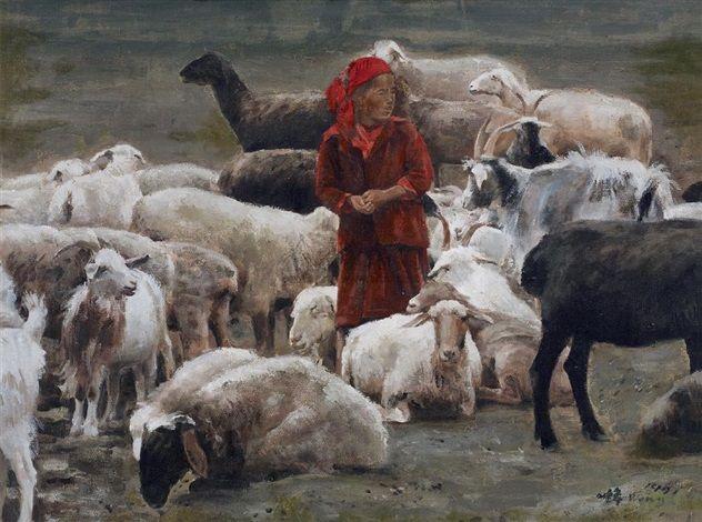 1991 COUNTING SHEEP, Xu Weixin (徐唯辛; b1958, Urumqi, Xinijiang Province, China)