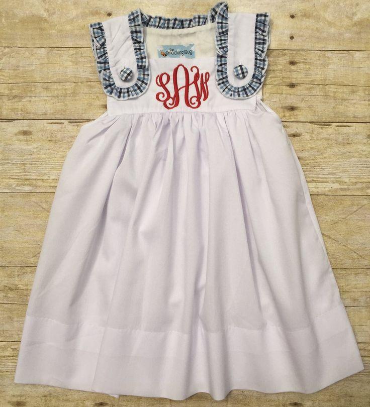 White Dress with Navy and Light Blue Plaid Trim