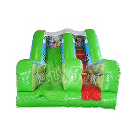 African animals theme green inflatable slide for sale at sunjoy, 10ft small inflatable dry slide for kids.