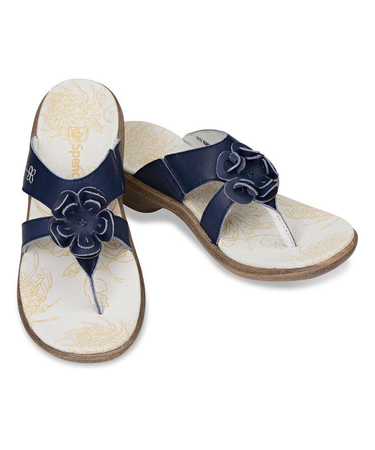 Navy Rose Leather Sandal - Women