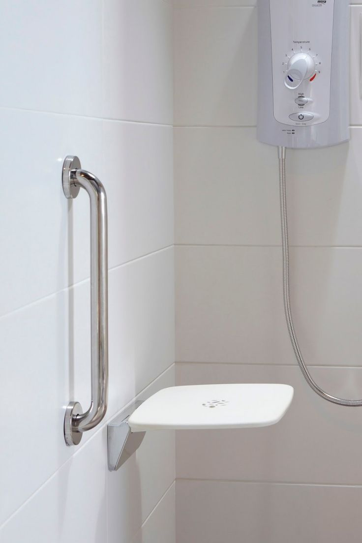 Plastic bathroom accessories uk - Accessories Simple Bathroom With Metal Shower Grab Bar And White Plastic Wall Shelf Also