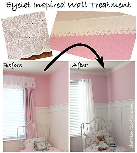 A quick and easy way to create a darling boarder near the ceiling that looks like lace eyelet using scallop shaped FrogTape. Perfect for a little girl's room