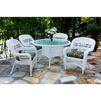 portside 5 piece dining set finish white fabric color eastbay pompeii by tortuga - Garden Furniture East Bay
