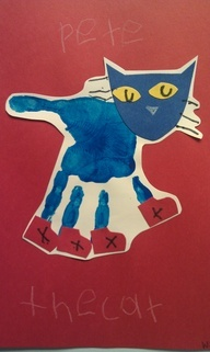 hand print art-Pete the Cat!So cute!   I'm rockin' in my school shoes!