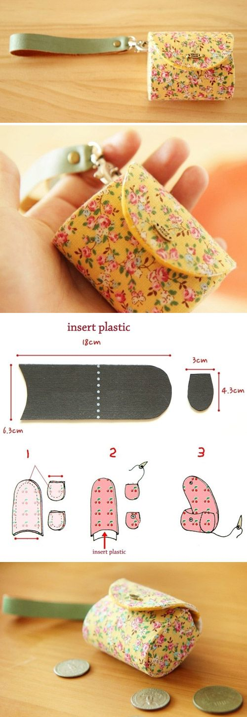 Fabrics Purse Coin Keychain with plastic insert. Tutorial DIY in Pictures. http://www.handmadiya.com/2015/11/purse-coin-keychain.html