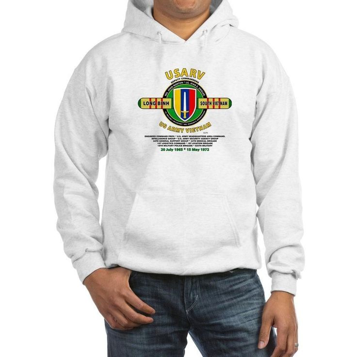 "UNITED STATES ARMY VIETNAM ""USARV"" LONG BINH MILITARY UNITS HOODIE W/POCKETS #COMBINATIONJERZEES #SweatshirtCrew"