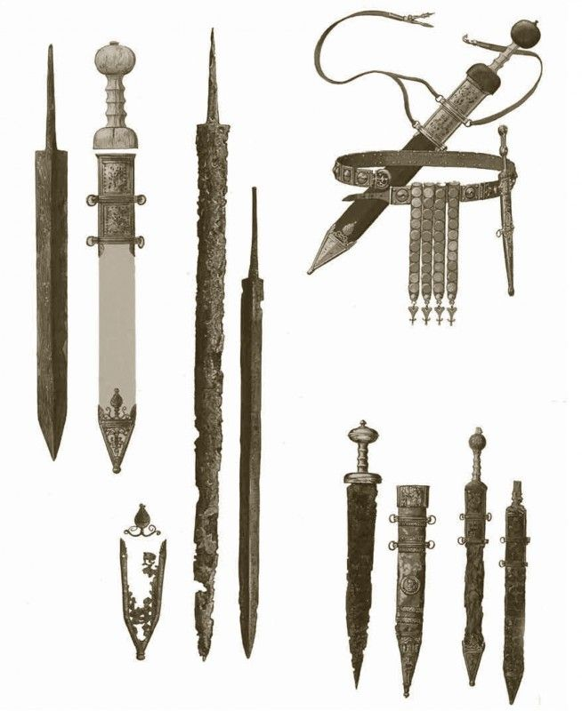 Top right: Roman sword, a gladius, with baldric and dagger belt, mid to late first century ad. Bottom right: an early firstcentury ad gladius from Rheingoenheim and a sheath from the Rhine; a gladius found at Pompeii, and another now in a museum in Mainz. On the left: other swords found on the Rhine.