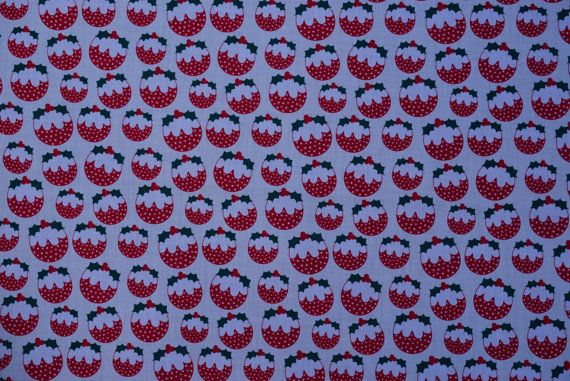 Cream XMAS Pudding Hollies and berries cute polycotton fabric christmas crafts card making quilting patchwork fabrics  -  by the yard