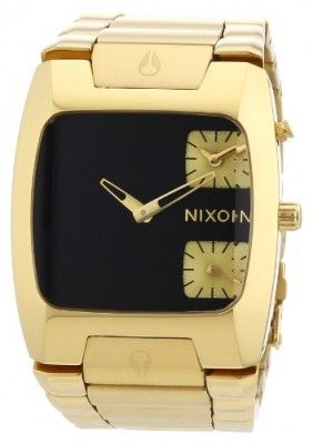 Relógio Nixon A060510 banks black dial gold stainless steel bracelet men watch NEW #Relogio #Nixon