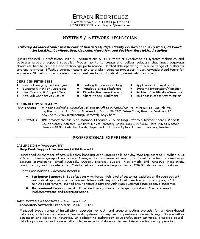 Auto Mechanic Resume Objective] Network Technician Resume Sample ...