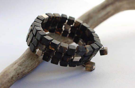 Triple Strand Genuine Amber Bracelet with Silver Beads 3-row