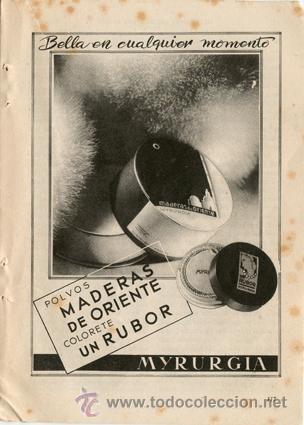 Página de publicidad Original *Polvos MADERAS DE ORIENTE. Colorete Un RUBOR. MYRURGIA* - Año 1953