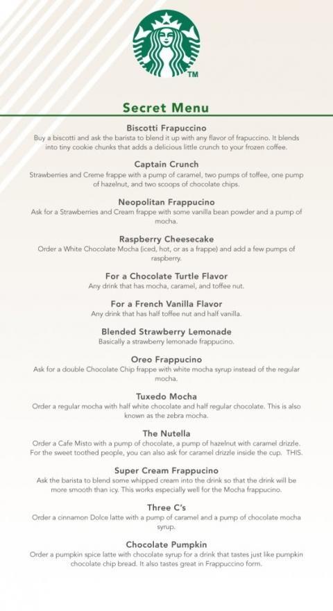 La carte secrète de Starbucks