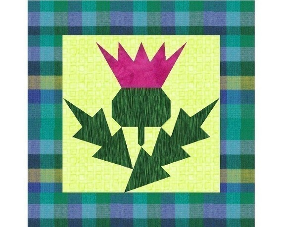 Thistle paper pieced quilt block pattern by PieceByNumberQuilts, $3.00