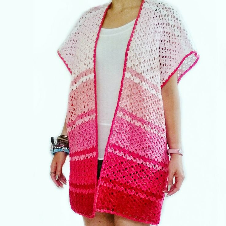 Pink Ombre Kimono Beach Cover-Up | Free Crochet Pattern - Make this quick and easy kimono style beach cover-up with yummy Paintbox Yarns Cotton Aran in pretty pink shades to create an ombre effect and learn the 'No Beginning Chain' over on the +LoveCrochet.com blog with my latest free tutorial and pattern.