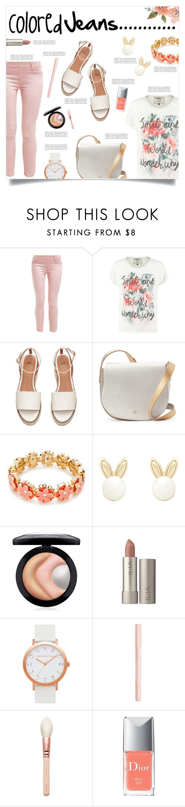 """Peach Jeans"" by simona-risi ❤ liked on Polyvore featuring Deux Lux, Napier, Lipsy, MAC Cosmetics, Oris, Bourjois and Christian Dior"