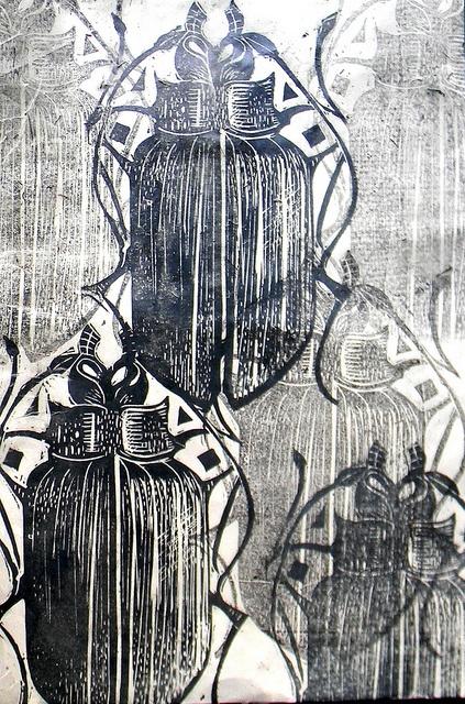 beetle lino print and wax - Mangle Prints