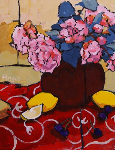Angus Wilson - Peonies and Fruit - Acrylic - 24 x 18