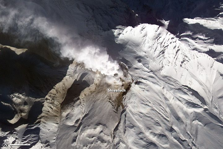 Shiveluch volcano erupts on Jan. 11, 2013.