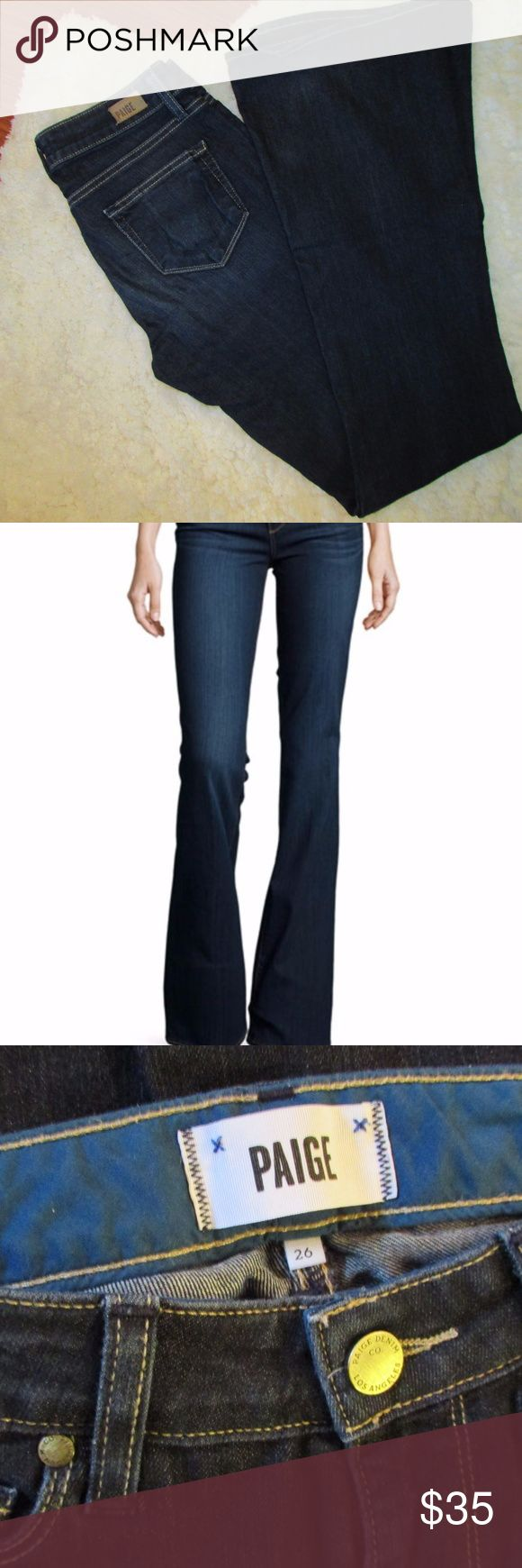 "PAIGE - Skyline Boot Jeans - 26"" - Basically New! GREAT CONDITION Deep indigo exudes subtle dimensional for a dramatic play of tones in a flattering pair of bootcut jeans with chic styling from the fit experts. Approx. inseam: 35"" with 20"" leg opening. Approx. rise: front 8 1/2""; back 13"".  Zip fly with button closure. Five-pocket style. Cotton/polyester/spandex; machine wash. By Paige Denim; made in the USA of imported fabrics  ••• I love offers and bundles!! Let's make a deal!! ••• PAIGE…"