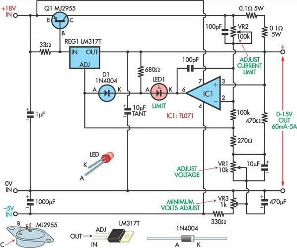 Fully Adjustable Power Supply Circuit Project Power Supply