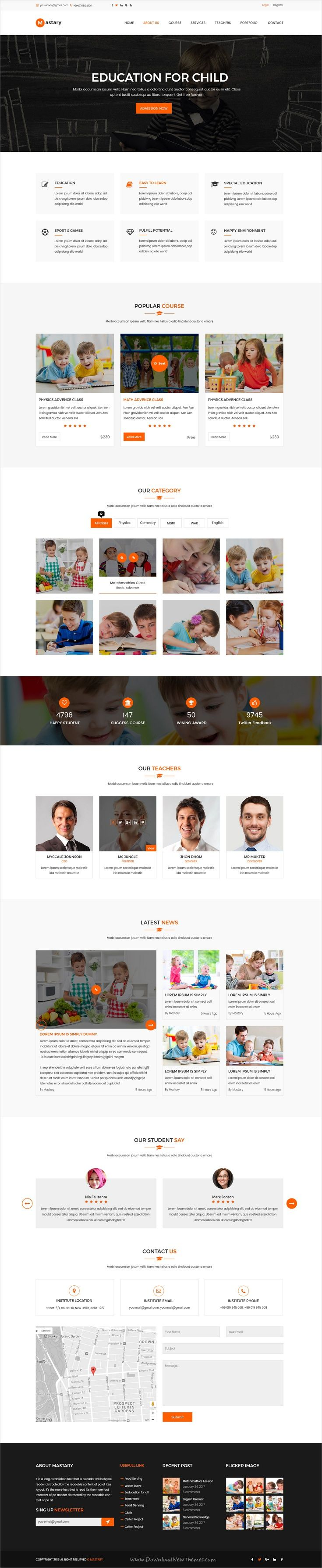 Mastary is a professional #Photoshop template for #education, #university website with 18 layered PSD files download now➩ https://themeforest.net/item/mastary-education-psd-template/19768250?ref=Datasata