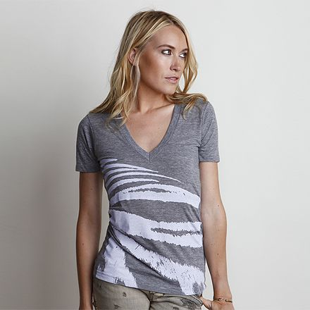 Tigress Vintage Grey/Lavender V-Neck Tee on Art.Life was designed using a photograph taken of actual stripes from a tiger during a journey through Thailand. This tee is a super soft tri-blend fitted deep v-neck with all over front print, stitching detail on shoulder, and organic cotton neck label. MADE IN USA. #retro #triblend #lifestyle #artlife #southbay #cottontee #graphictee #womensstyle #womensfashion #cotton #ecofriendly #beachstyle #vintage #beachwear #womenswear #saveourseas #tiger