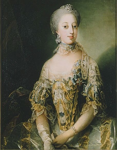 The Princesses Sophie Magdalene of Denmark & Norway (1746-1813). She was a daughter of King Frederik V and his wife, The Princess Louise of Great Britain. She was The Crown Princess of Sweden (1766-1771) and Queen of Sweden (1771-1792) as the wife of King Gustav III. Her only surviving child was King Gustav IV Adolf.
