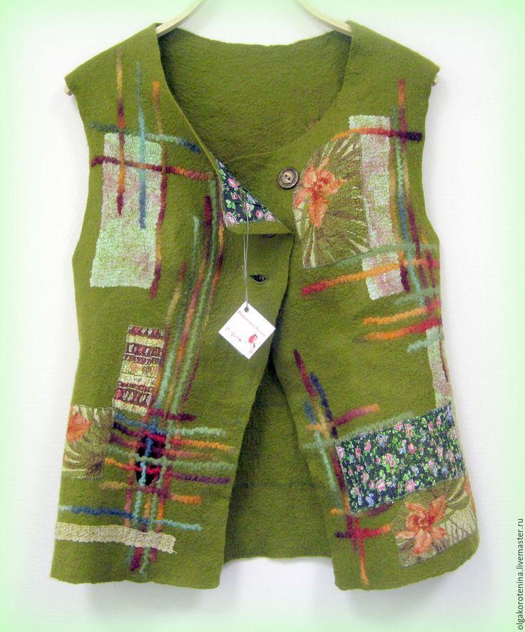 """Купить Валяный жилет """" Теплая осень"""" - зеленый, орнамент, валяный жилет, одежда для женщин"""