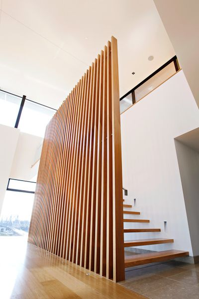 Balustrades - vertical timber battens on stainless steel frame and stanchions
