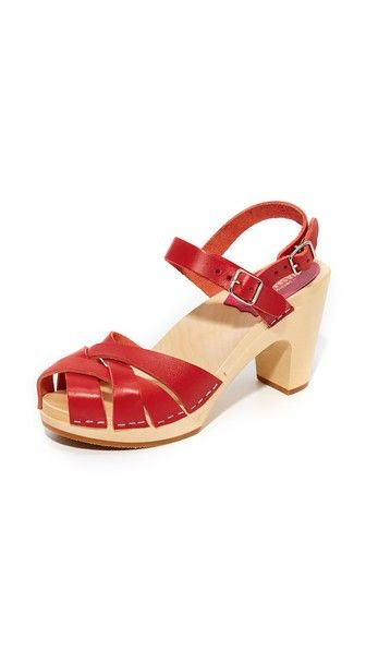 Get this Swedish Hasbeens's heeled sandals now! Click for more details. Worldwide shipping. Swedish Hasbeens Katja Sandals: Woven leather Swedish Hasbeens sandals in a vibrant hue. Ankle strap with double buckle closures. Sculpted wood heel and platform. Crepe sole. Leather: Cowhide. Imported, Romania. This item cannot be gift-boxed. Measurements Heel: 3.25in / 80mm Platform: 0.75in / 20mm (sandalias de tacón, tacon, tacones, tacón medio, heel, heels, high-heeled, skyscraper, caged…
