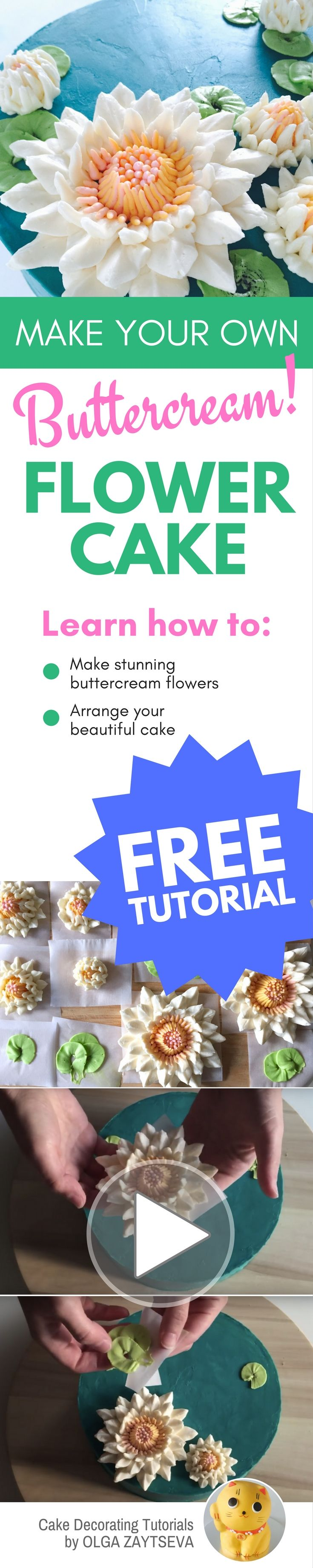 How to make Buttercream Water Lily cake - Cake decorating tutorial by Olga Zaytseva. Learn how to make very trendy buttercream Water Lily flowers and create this gorgeous cake. #cakedecorating #cakedecoratingtutorial #buttercreamflowercake #buttercreamflowers