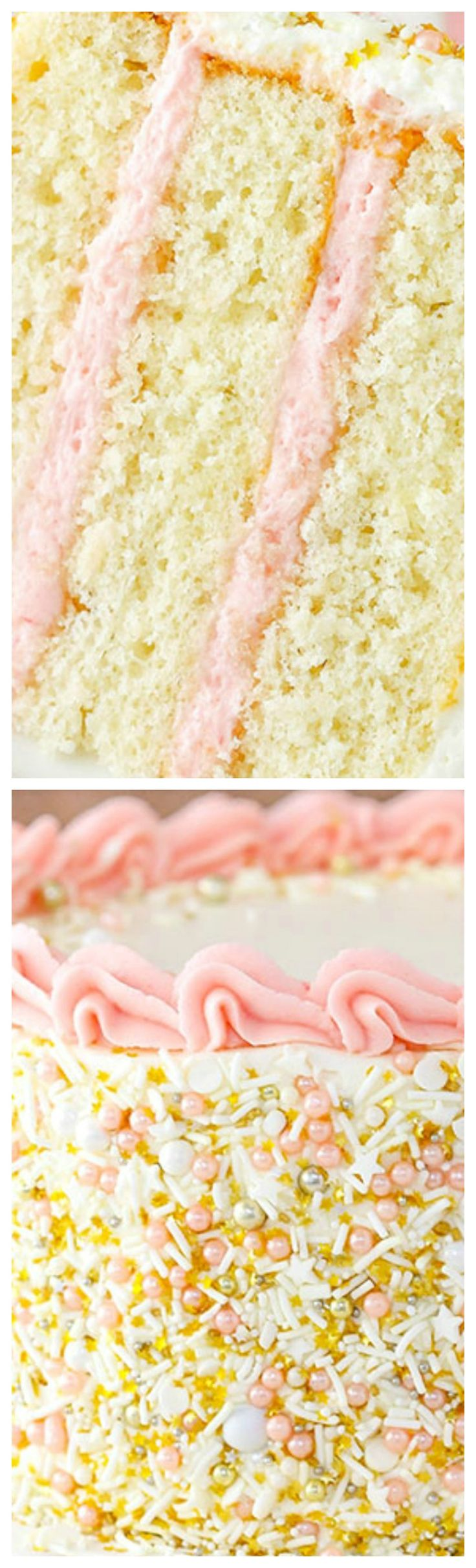 Strawberry Champagne Layer Cake ~ Layers of moist champagne cake and fresh strawberry frosting!
