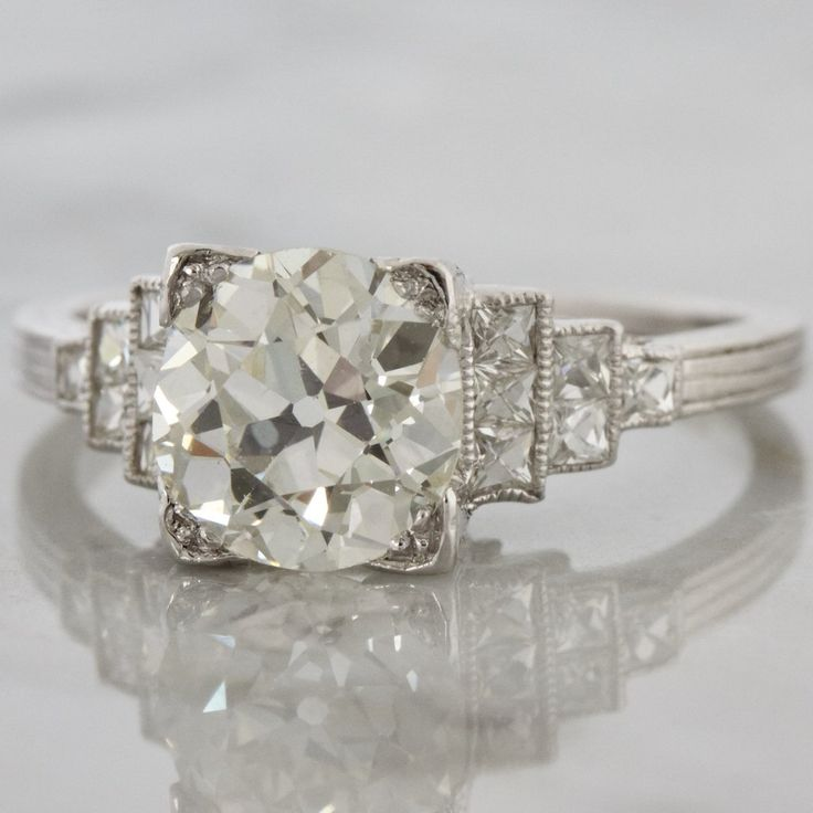 Art Deco Diamond Engagement Ring with French Cut Sidestones