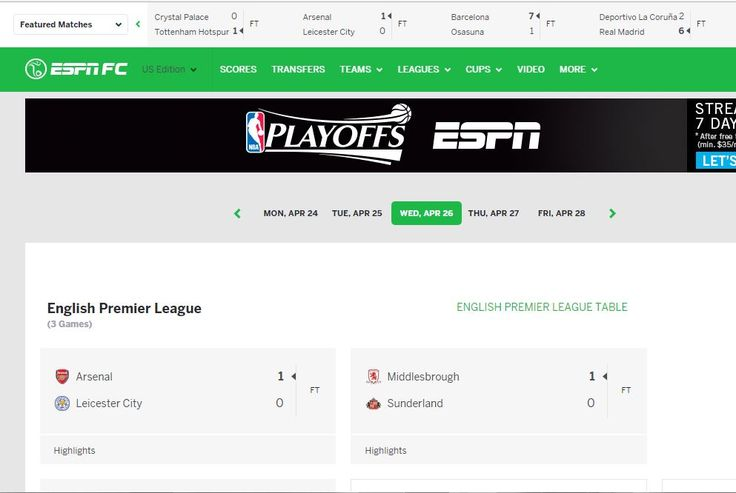 Checking soccer scores
