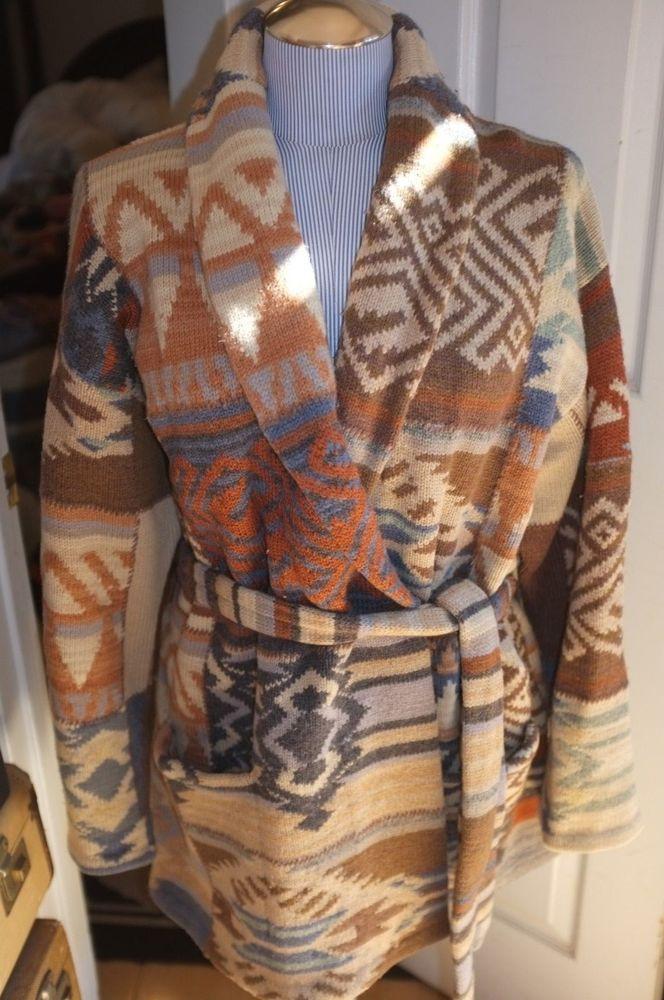 ralph lauren wool HAND KNIT khaki blue Navajo Native American cardigan sweater X #RalphLauren #CardiganSweaterJacket