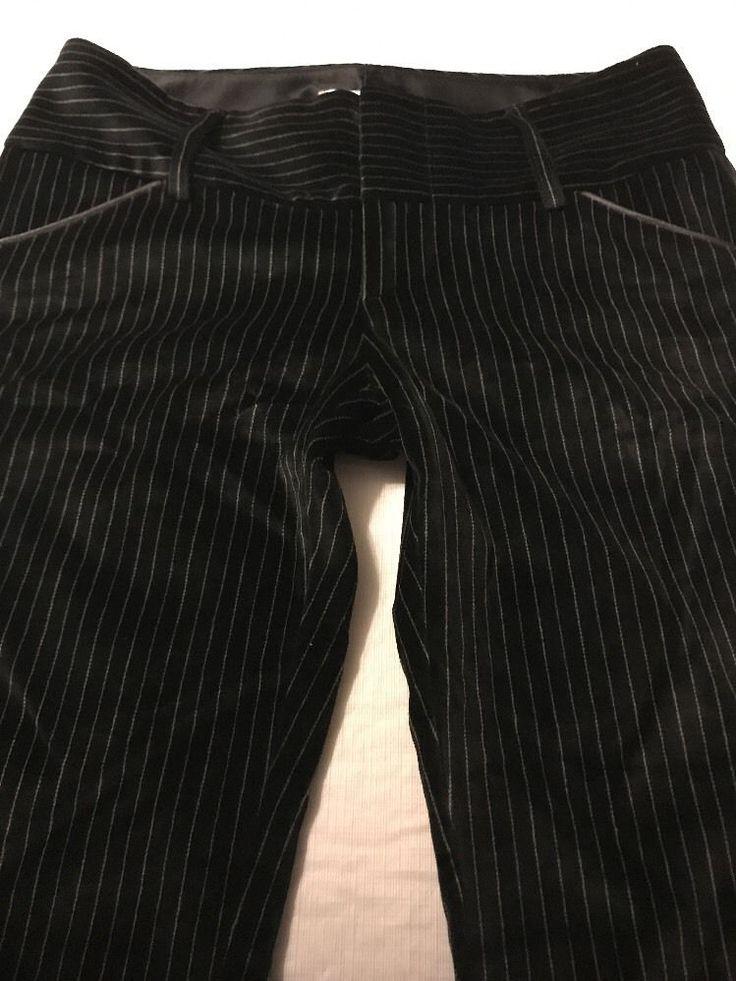 Alice + Olivia Black Striped Velour Women's Flare Stretch Pants Size 6 X 32  | eBay